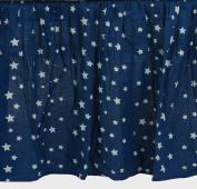 Zack & Tara Crib Skirt - Stars in Navy