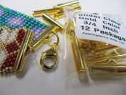 Bead Loom Slider Clasp, 1.9cm Long, Gold Colour, 12 Package, Fits size 11 beads, Bead loom Clasp, Bracelet Findings, Bead Loom Patterns, 12 Package