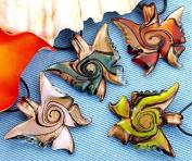 Skyllc® 8 X Butterfly Style Murano Glass Lampwork Necklace Pendant Gold Sand Stripe Pendant for Women 4 Colours 2 Pieces Each Colour