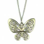 GBSTORE Vintage Bronze Retro Carved Butterfly Sweater Chain Necklace