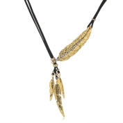 Akak Store Fashion Punk Choker Necklace Black Long Rope Leather Chain Vintage Bronze Leaf Feather Tassel Pendant Necklace