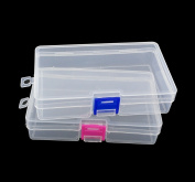 yueton Pack of 2 Plastic Transparent Storage Box Jewellery Craft Nail Art Beads Container Organiser