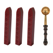 3 Pack Sealing Wax Sticks for Envelops Postage Letter, Red with Vintage Brass Wood Sealing Wax Melting Spoon