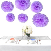 Somnr® Pack of 12Pcs Mixed 3Sizes Lilac Tissue Paper Pom Poms Decorative Flowers Wedding Centrepieces New Year Birthday Bridal Shower Party Decoration Hanging Favours by Somnr