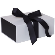 Jillson Roberts 36-Count Medium Ribbon-Tie Gift Boxes, Sophisticate White Matte with Black Ribbon