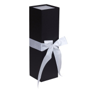 Jillson Roberts 24-Count Ribbon-Tie Wine and Bottle Gift Boxes, Sophisticate Black Matte