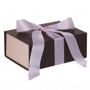Jillson Roberts 36-Count Medium Ribbon-Tie Gift Boxes, Coco Matte with Pastel Pink Ribbon