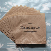 Kraft Brown 'Handmade' Paper Bag x 10 - Craft / Stall / Gifts unstrung
