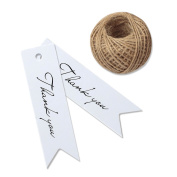 G2PLUS® 100 PCS 'Thank you' Printed Kraft Hang Tags for Wedding Favours Paper Gift Tags with 30m Jute Twine