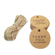 100 Pcs New Thanks you Kraft Paper Gift Tag DIY Round Gift Tag Favour Tag Hang Tag For Wedding Party With String