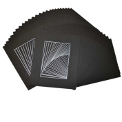 Studio 500, High Quality, Acid-Free Pack of 50 20cm by 25cm Black Picture Mat Mattes with White Core Bevel Cut for 5x 7 Photo