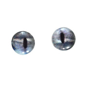 8mm Silver Shark Glass Eyes Nautical Doll Irises for Art Polymer Clay Taxidermy Sculptures or Jewellery Making Set of 2