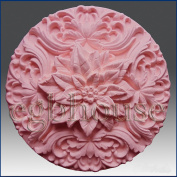 Poinsettia Rosette - Detail of High Relief Sculpture - Silicone Soap/polymer/clay/cold Porcelain Mould