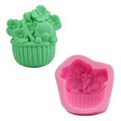 Mr.S Shop DIY 3D Flower Basket Puppy Silicone Mould Fondant Sugar Jelly Ice Soap Cake Decorating Tools