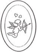 10cm x 15cm Oval Engraved Cupid Premium 1.3cm Bevelled Glass - Pkg of 4