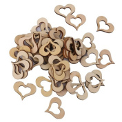 ROSENICE 50pcs Wooden Heart Shaped Slice Discs for DIY Crafts Mini Ornament Wedding Decor