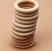 "WellieSTR Lot Of 100 Unfinished Teething Ring ,Natural Wood Rings 2.6"" (65mm),Natural Wood Circle/Ring Pendant/Connectors Jewellery Making"