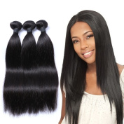 "Mornice Hair 100% Unprocessed Peruvian Remy Virgin Hair Weft Weave 3 Bundles 300G 8A Grade Real Silky Straight Human Hair Extensions Natural Black 12""14""16"""