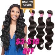 Haorui Brazilian Body Wave Virgin Hair Weave 3 Bundles 7A Unprocessed Virgin Human Hair Extensions Natural Black Hair Colour