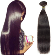 Uneed Hair 41cm Brazilian Straight Hair 100% Virgin Human Hair Weave Hair Extensions 7a Grade Quality Natural Colour 1 Piece, About 95-100g/pc