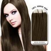 Melodylocks 60cm Tape in Remy Human Hair Extensions 20 Pieces(pcs), 30g, Straight #4 Medium Brown