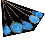 KeyZone 1 x Lady Fashion Colourful Crystal Quartz Healing Stone Gemstone Pendant Necklace Blue