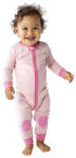 baby deedee 1 Piece Long Sleeve Footless Romper, 6-12 Months, Heather Pink
