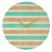 DENY Designs Allyson Johnson Glitter and Mint Round Clock, 30cm Round