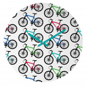 DENY Designs Andi Bird Ride A Bike White Round Clock, 30cm Round