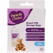 Breast Milk Storage Bags by Parent's Choice, BPA-Free and leak-proof double-zipper seal - 50 ct
