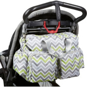 Nappy Duffel Bag Organiser For Mom- Designer Styling With Mosaic Multi-Colour Stripes-Lightweight Versatile Cheap Cute With Adjustable Stroller Straps- 6 Interior Pockets Zip Pockets Changing Pad