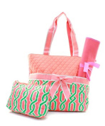 J & C Family Owned Vine Quilted Pink Nappy Bag