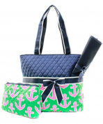 J & C Family Owned Anchor Quilted Pink Nappy Bag