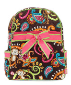 J & C Family Owned Monkey Quilted 33cm Backpack