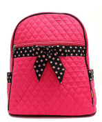 J & C Family Owned Solid With Polka Dot Quilted 33cm Backpack