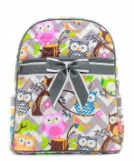 J & C Family Owned Chevron Owl Quilted 33cm Backpack