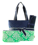 J & C Family Owned Damask Quilted Navy Nappy Bag