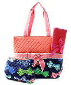 J & C Family Owned Bow Tie Quilted Pink Nappy Bag