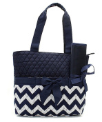 J & C Family Owned Chevron Quilted Navy Nappy Bag