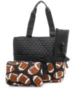 J & C Family Owned Football Quilted Navy Nappy Bag