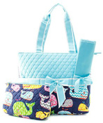 J & C Family Owned Whale Quilted Navy Nappy Bag