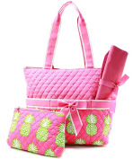 J & C Family Owned Pineapple Quilted Pink Nappy Bag