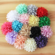 HI-BOOM 16 PCS Handmade Chiffon Flower Without Clips for DIY Baby Headbands and Children's Hair Accessories, Assorted Colour