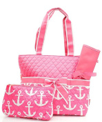 J & C Family Owned Anchor Quilted Navy Nappy Bag
