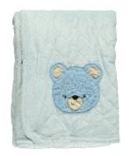"Quiltex ""Fuzzy Teddy"" Plush Blanket - blue, one size"
