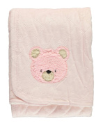 "Quiltex ""Fuzzy Teddy"" Plush Blanket - pink, one size"