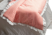 Soft cotton honey comb woven dual toned with linen gauze frilled 120cm square baby blanket comforter