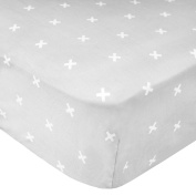 "Premium Fitted Cotton Crib Sheet / Toddler Sheet ""Slate"" by Copper Pearl"
