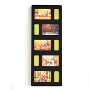 Adeco Decorative Black Wood Hanging Picture Photo Frame with 5 Openings