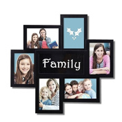 Adeco 'Family' 6-opening Black Plastic Wall Hanging Collage Photo Frame